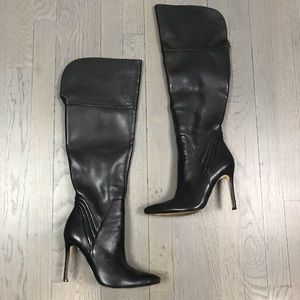 GUESS Pointed Toe Black Leather Heels Boots 7.5